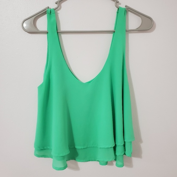 iris Tops - Green Tank Top